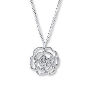 Pandora Sterling Silver Shimmering Rose Necklace